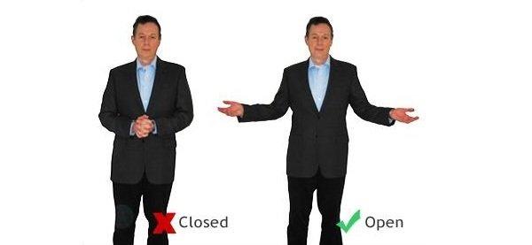 postura abierta