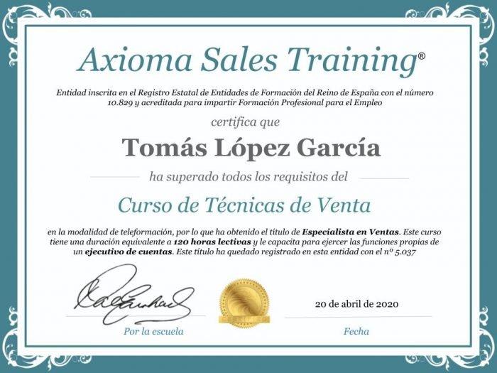 Diploma del curso de técnicas de venta