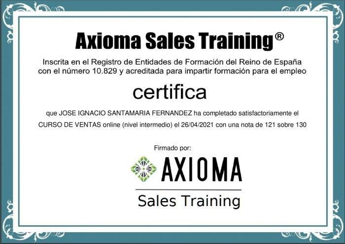 Certificado del curso de ventas gratis