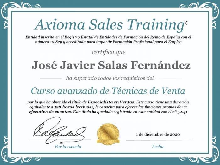 Diploma del curso de ventas avanzado